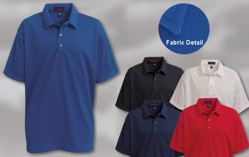 MOISTURE MANAGEMENT SHIRT 100% polyester off set mesh moisture management shirt. 3-button placket with matching button, set-in hemmed sleeves and a self-collar. Union Made in USA. Sizes: S-5XL
