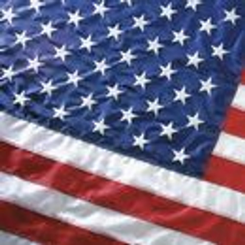 This 8'x12' U.S. flag comes with extra heavy, white polyester canvas heading with nylon rope and galvanized thimbles for added strength. This flag is 100% made in the U.S.A.
