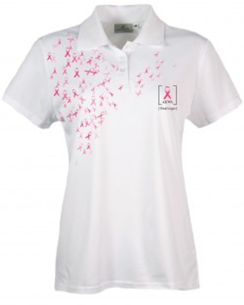 Made in USA   Breast Cancer Awareness Polo (PTM)   5.0 oz, 100% Moisture Wicking Polyester   Proudly Made in USA