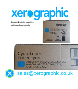 Xerox WorkCentre 7655, 7665, 7675, Genuine Twin Pack Cyan Toner Cartridge 006R01452