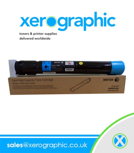 Phaser 7500 Color Printer Genuine High-Capacity Cyan Toner Cartridge 106R01436