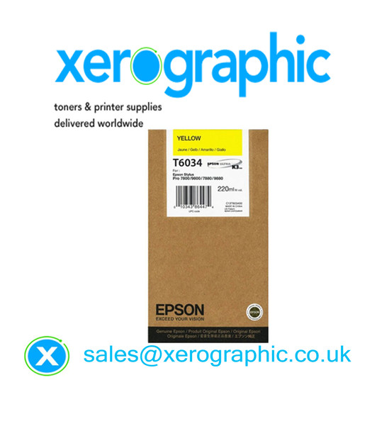 Epson Printer 7880, 9800, 7880, 9880, High Capacity Genuine Yellow (220ml) Toner Cartridge T6034, C13T603400