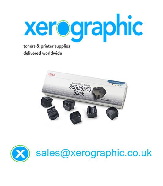 Xerox Genuine 6, Black Solid Wax Ink Cartridge 108R00672, 108R672 Phaser 8500/8550