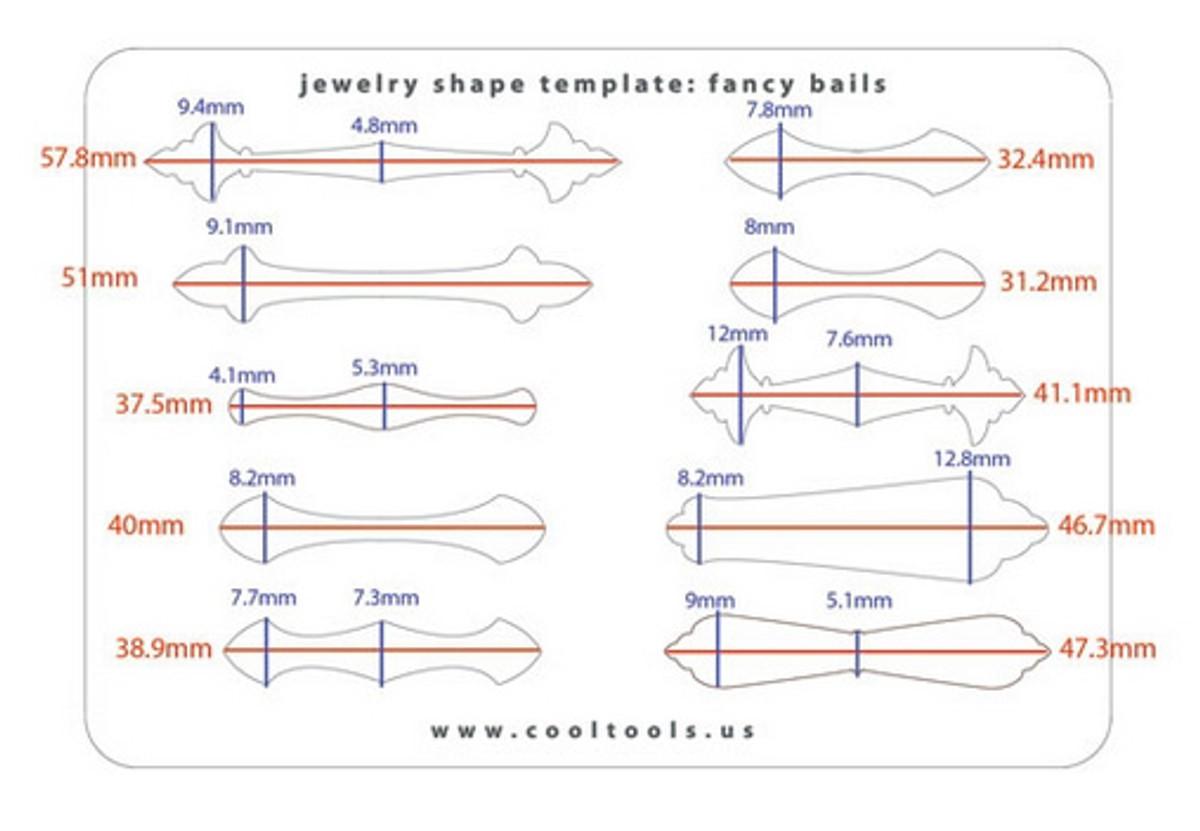 jewellery shape template fancy bails metal clay ltd