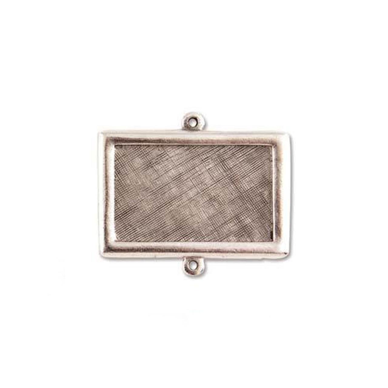Rectangle Link Bezel - Antique Silver - 37 x 25mm