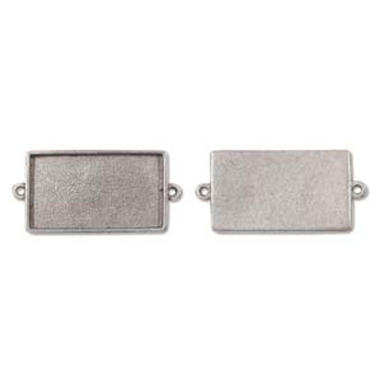 Rectangle Link Bezel - Antique Silver - 39 x 22mm