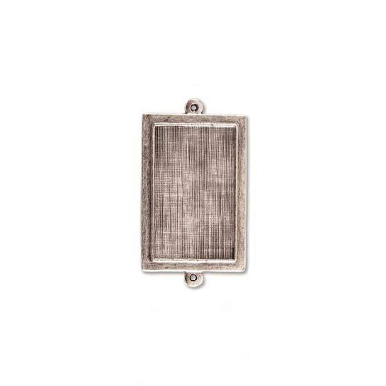 Rectangle Raised Link Bezel - Antique Silver - 24 x 26mm