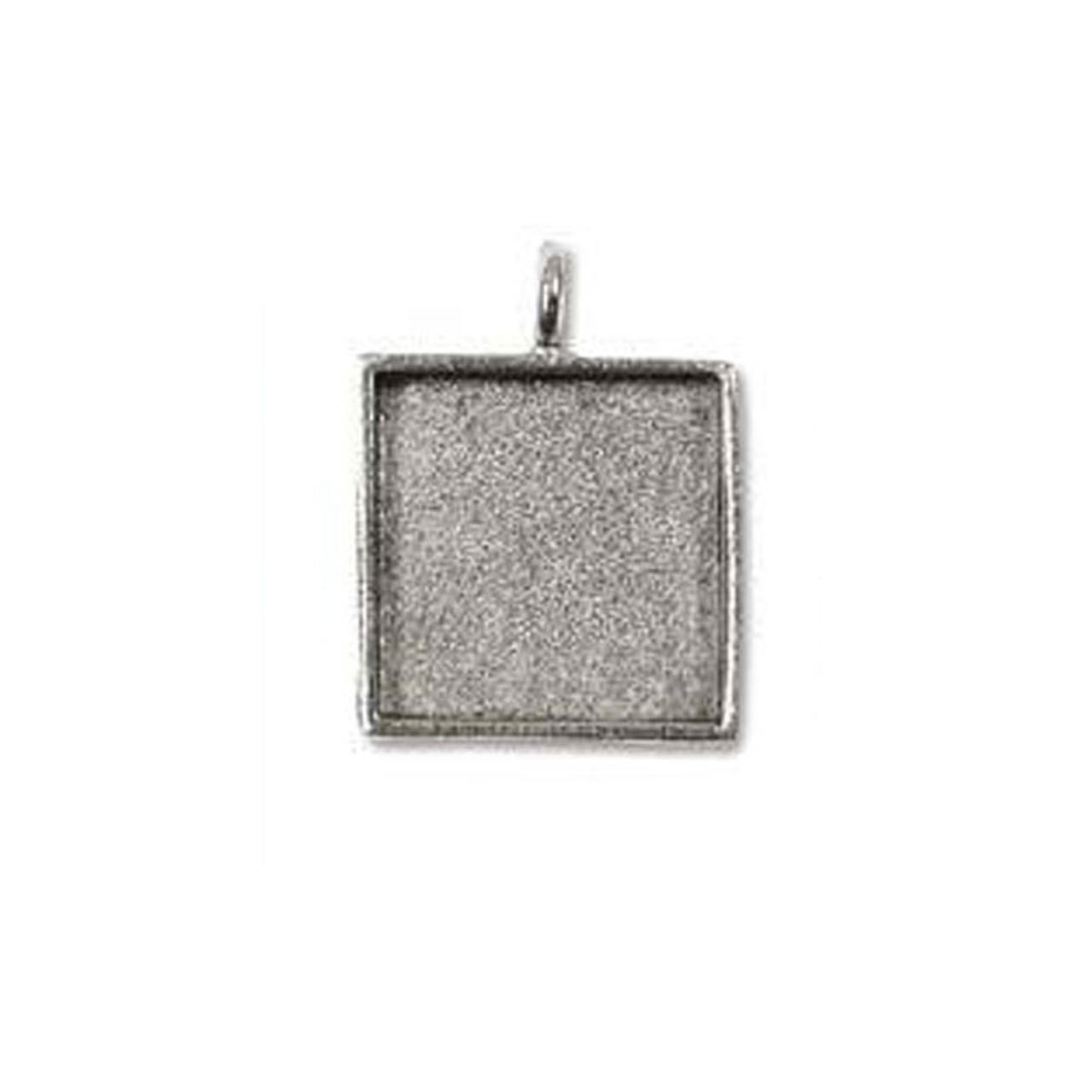 Bezel Pendant Square - Antique Silver - 24mm