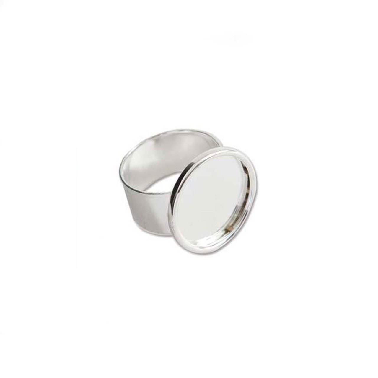 Bezel Ring With Adjustable Band - Circle Bright Silver - 18mm