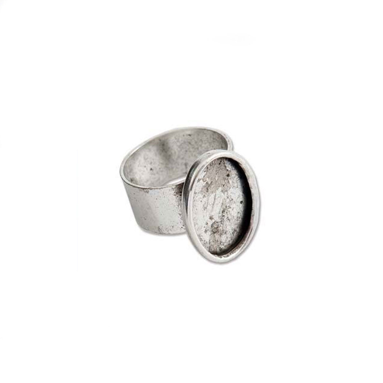 Bezel Ring With Adjustable Band - Oval Antique Silver - 13x18mm