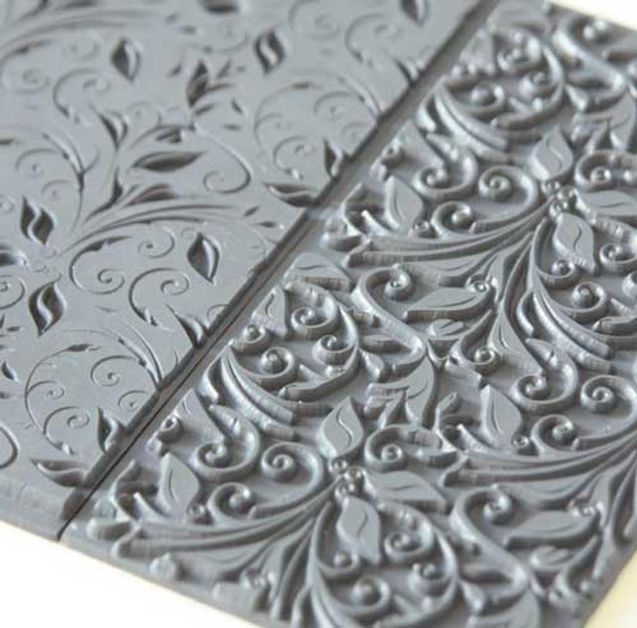 Texture Tile - Leaves & Tendrils (TTL-621) is on the right, next to Texture Tile - Leaves & Tendrils Fine Line Embossed (TTL-622) on the left.