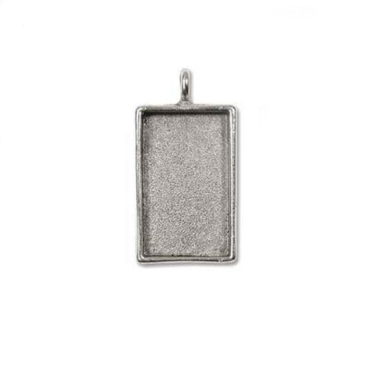 Bezel Pendant Rectangle- Antique Silver - 18 x 30mm