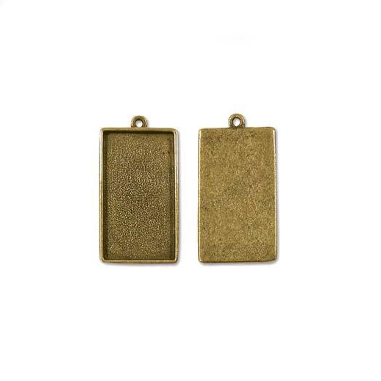 Bezel Pendant Rectangle - Antique Gold - 39 x 22mm