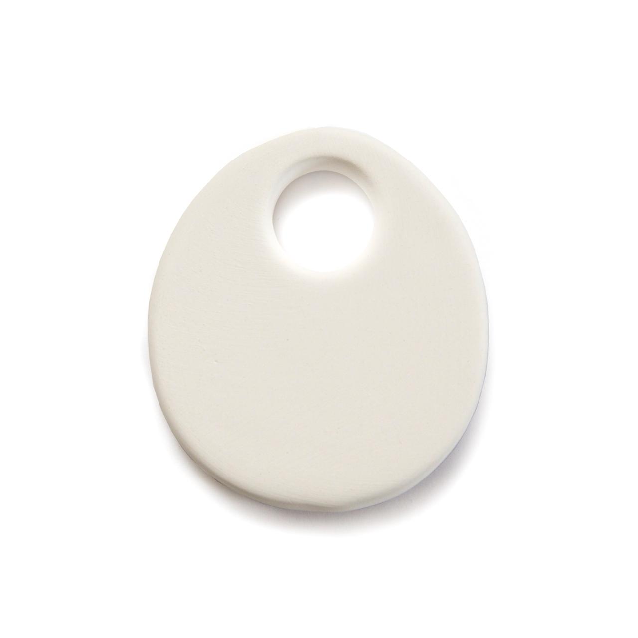 Ceramic Bead Unglazed - Oval Pendant