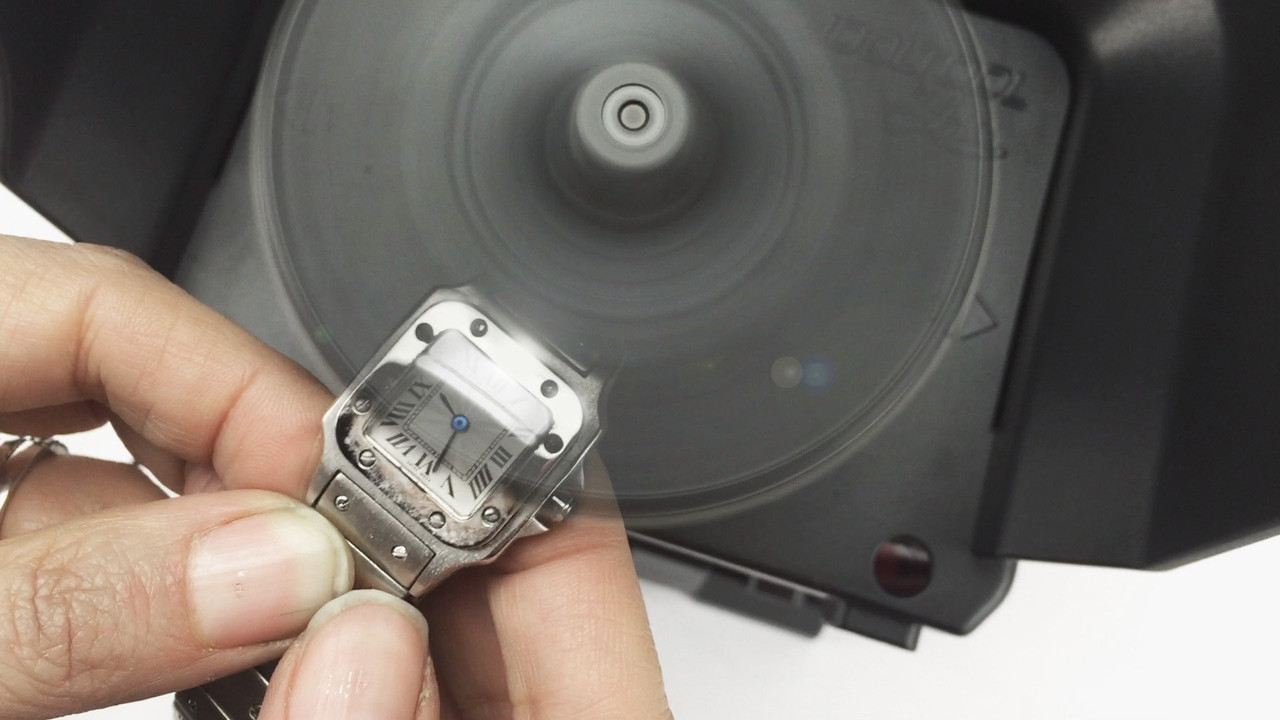 Polishing a watch crystal with the JoolTool Deluxe lapidary kit