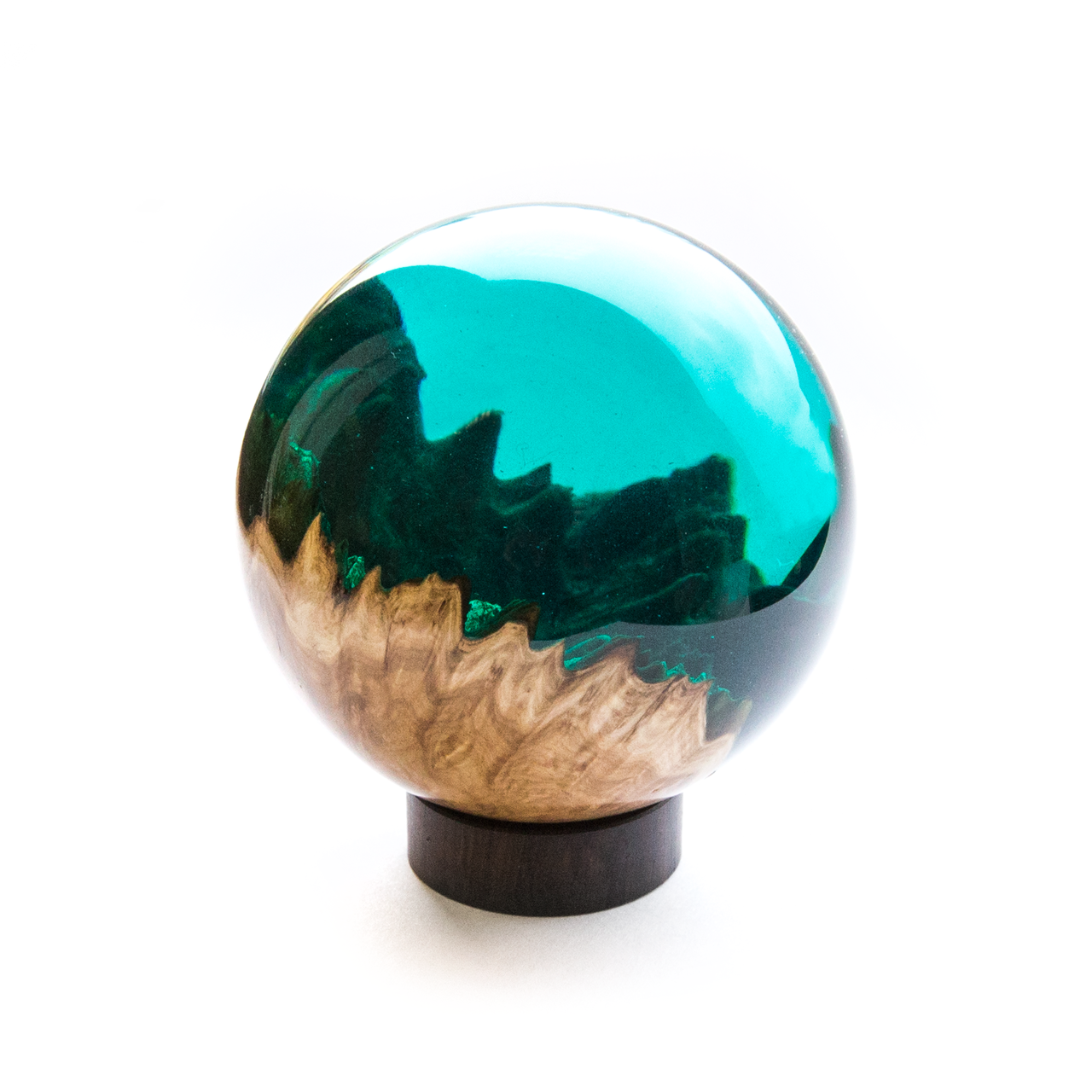 Created using Australian Mallee Burr wood and Alumilite Clear Resin. Coloured with Stream Alcohol Ink (about 6 drops).