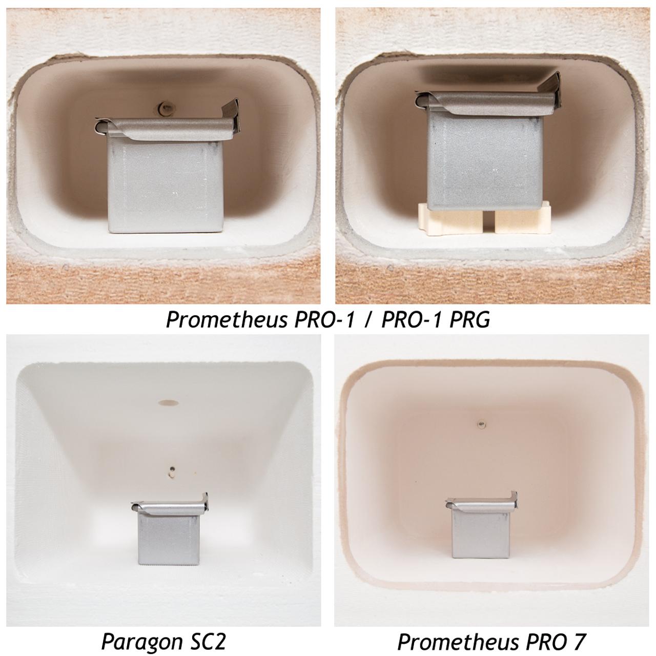 How the Small Firing Pan fits inside each kiln.