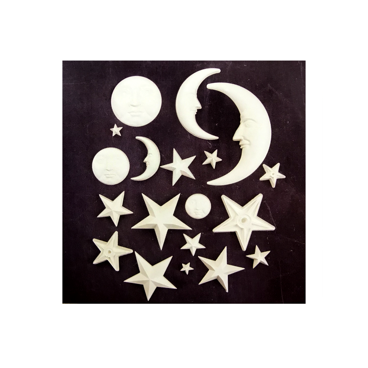 Example items moulded with Star & Moon mould