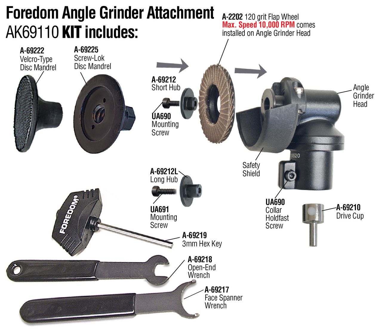 """Foredom Angle Grinder Attachment 2"""" with H.30 Handpiece"""