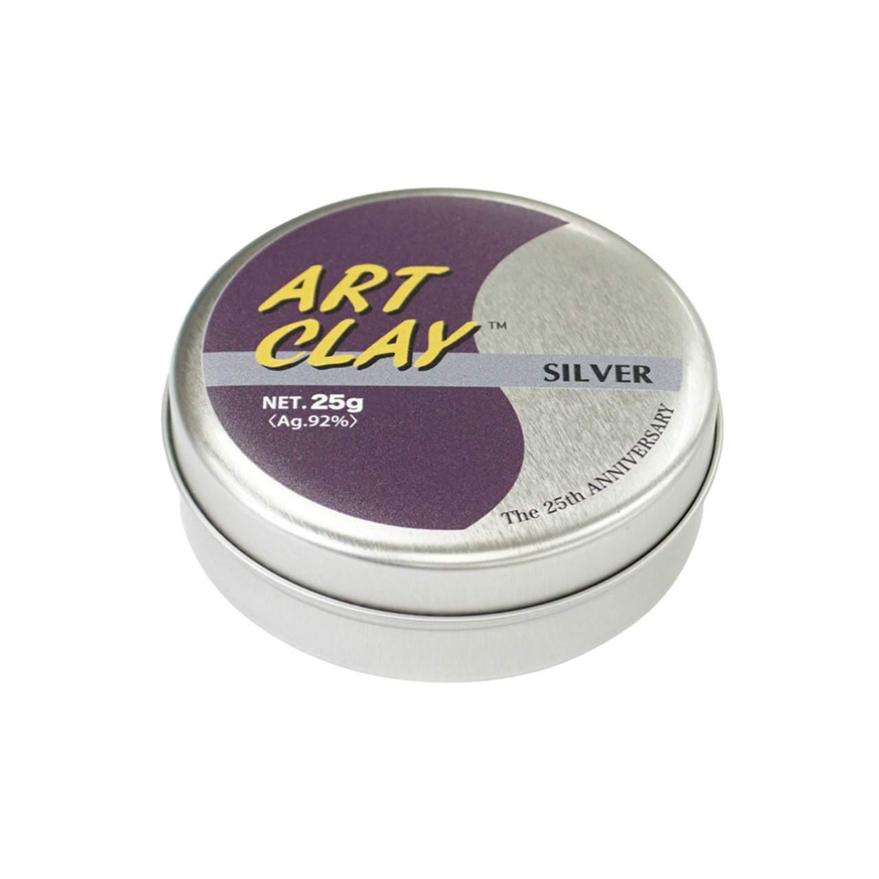 Purple tin. Happy 25th Anniversary Art Clay! Get your collectible limited edition tins with 25gm Art Clay Silver.