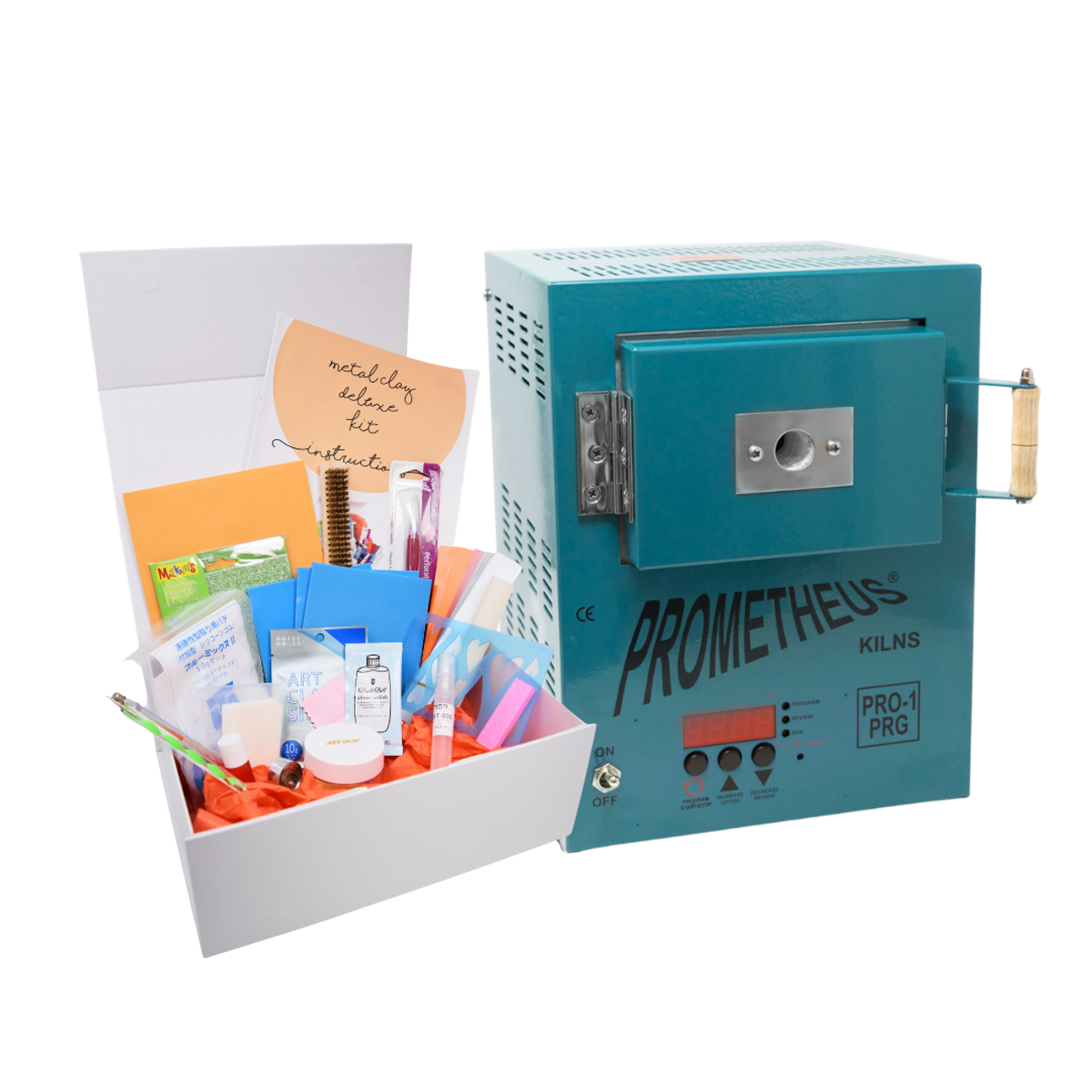 Metal Clay Diamond Deluxe Starter Kit - with Dark Teal Pro1-PRG Kiln The kiln is pre-programmed with our tested and tried reliable programs for silver, glass, and more. You can still set all your own programs if you wish, but this will get you started quickly without any stress!
