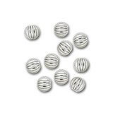 Sterling Silver Round Corrugated Beads - 3mm - Pack of 10