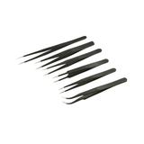 Stainless Steel Tweezer Set - Black Oxidised (Non-Magnetic) - 6pc