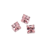 Liquid cut pink morganite square stones.