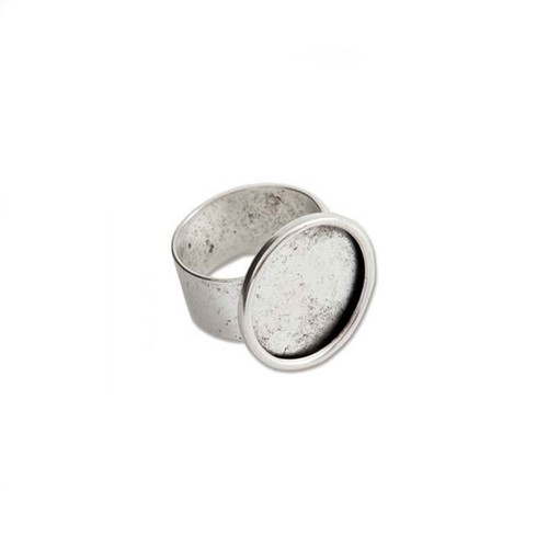 Bezel Ring With Adjustable Band - Circle Antique Silver - 18mm