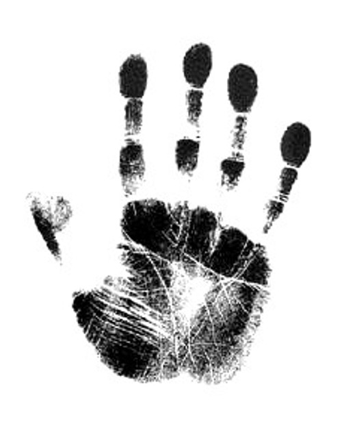 Handprint on inkless paper