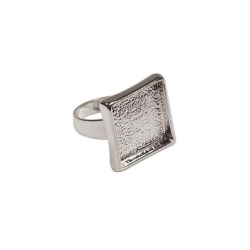 Bezel Ring With Adjustable Band - Square Bright Silver - 2x2xm