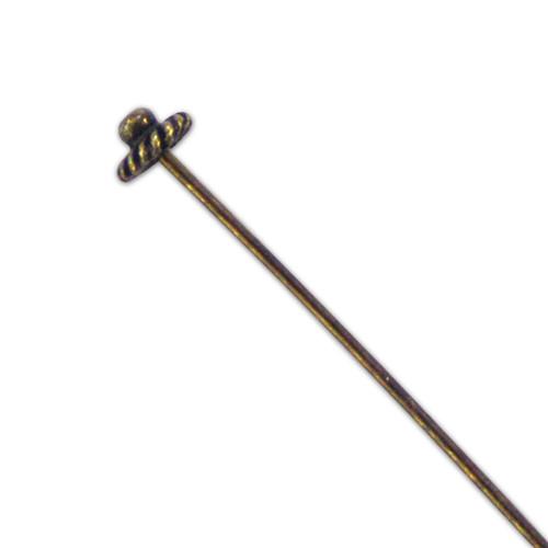 Fancy Head Pin - Design 2 - Antique Brass - 55mm