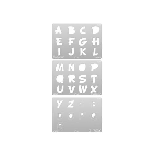 QuikArt Alphabet Templates 3 pack - Woody Font Small