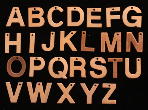1pc Copper Alphabet Blank