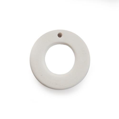 Ceramic Bead Unglazed - Donut Pendant
