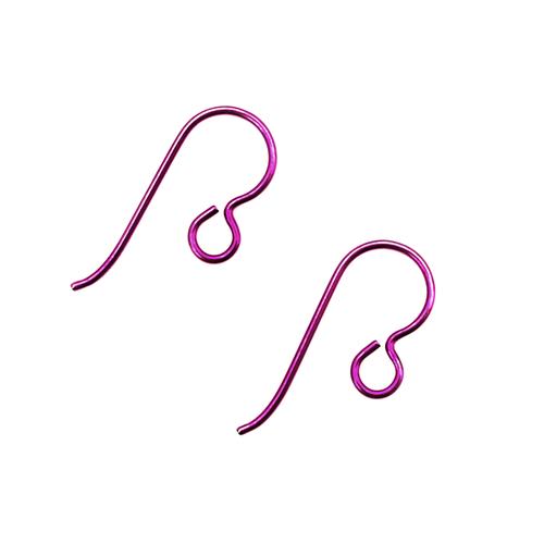 Niobium Earwire With Loop - Fuchsia - 1 Pair