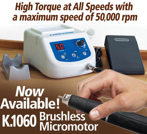 Foredom Brushless Micromotor K.1060. High torque micromotor with a maximum speed of 50,000 rpm