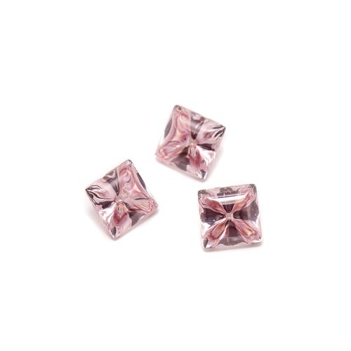 Liquid cut pink morganite square stones.