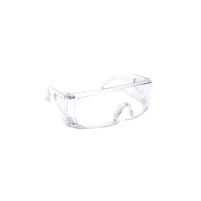Safety glasses with anti-scratch lenses