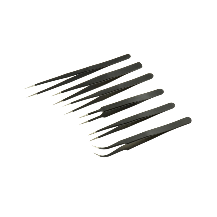 Stainless Steel Tweezer Set - Black Oxidised (Non-Magnetic) - 6pc