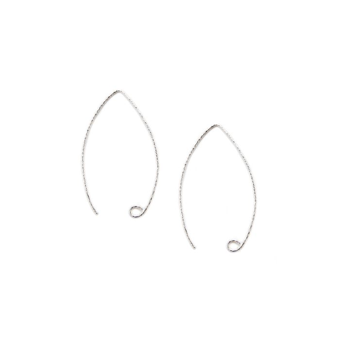Sterling Silver Marquise Earwire - Diamond-Cut - 1 Pair
