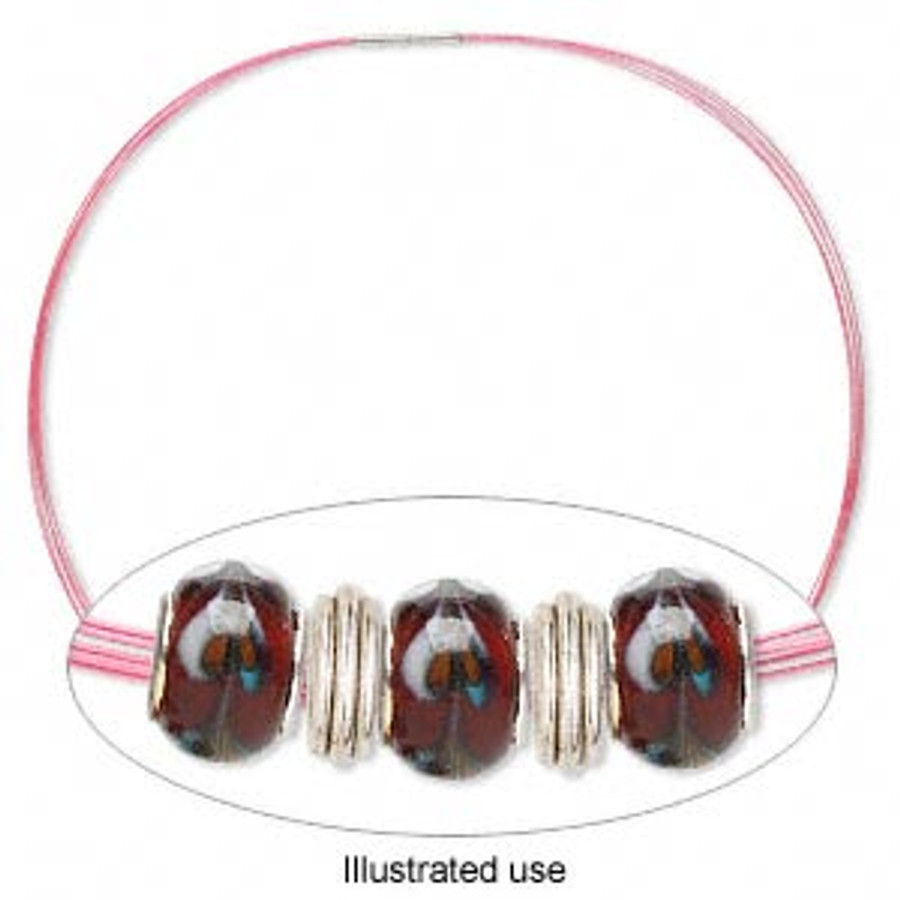 Stainless Steel Choker Necklace - Pink