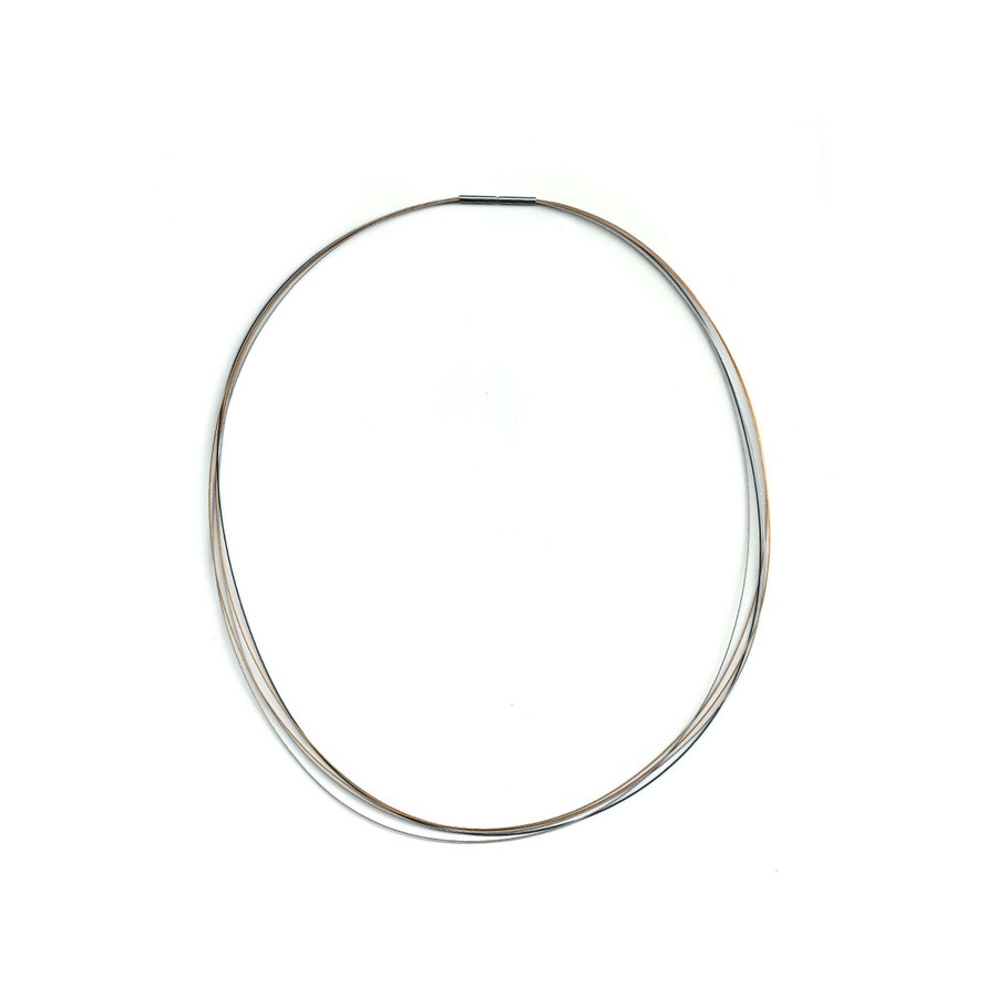 Stainless Steel Choker Necklace - Tri-Colour
