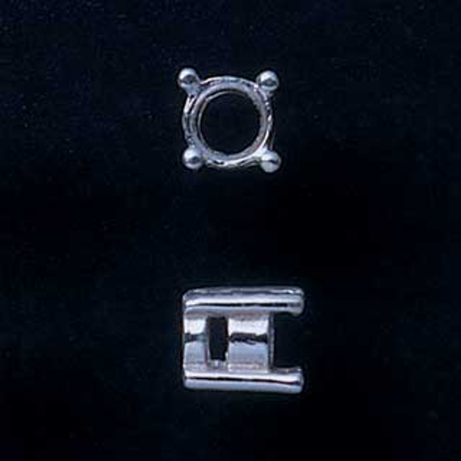 Fine Silver Prong Setting - Round - 4mm