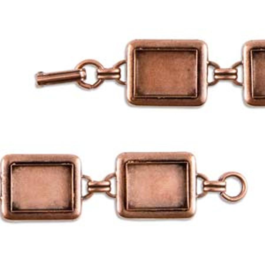 Rectangle Raised Linked Bezel Bracelet - Antique Copper - 190mm