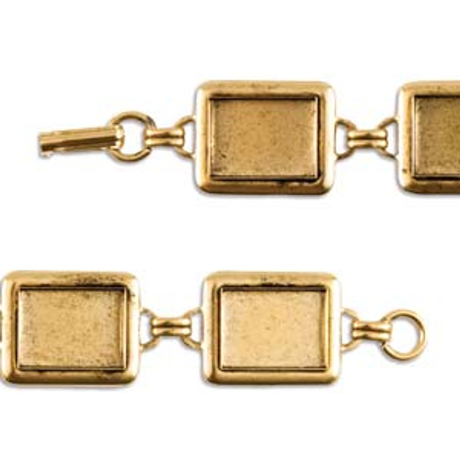 Rectangle Raised Linked Bezel Bracelet - Antique Gold - 190mm