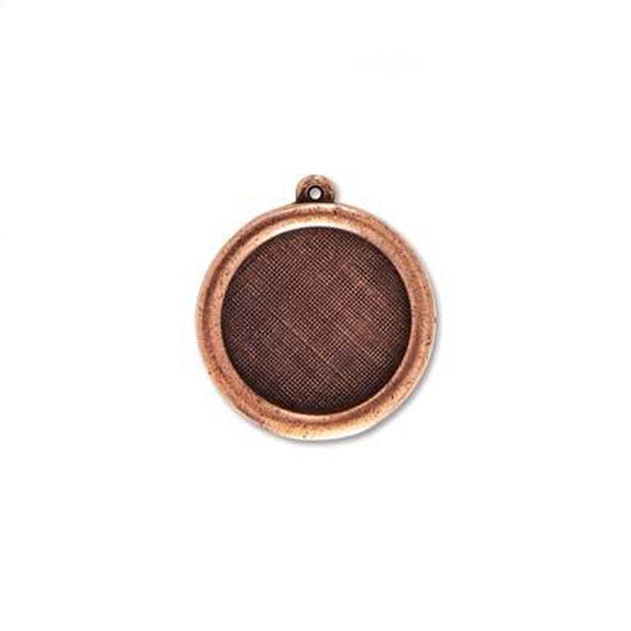 Circle Pendant Bezel - Antique Copper - 27mm