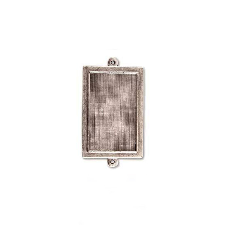 Rectangle Raised Link Bezel - Antique Silver - 24 x 26mm