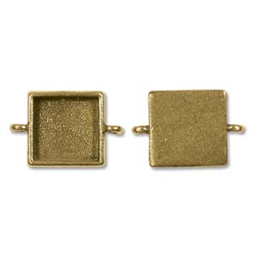 Square Link Bezel - Antique Gold - 18mm