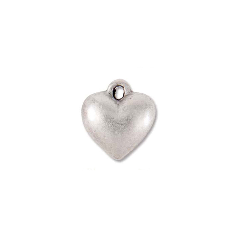 Small Heart Charm - Antique Silver - 11 x 9mm